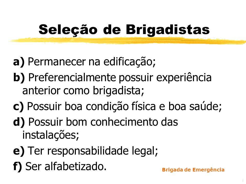 Brigada de Emergência 6 Organização da Brigada z Brigadista; z Líder – resp.