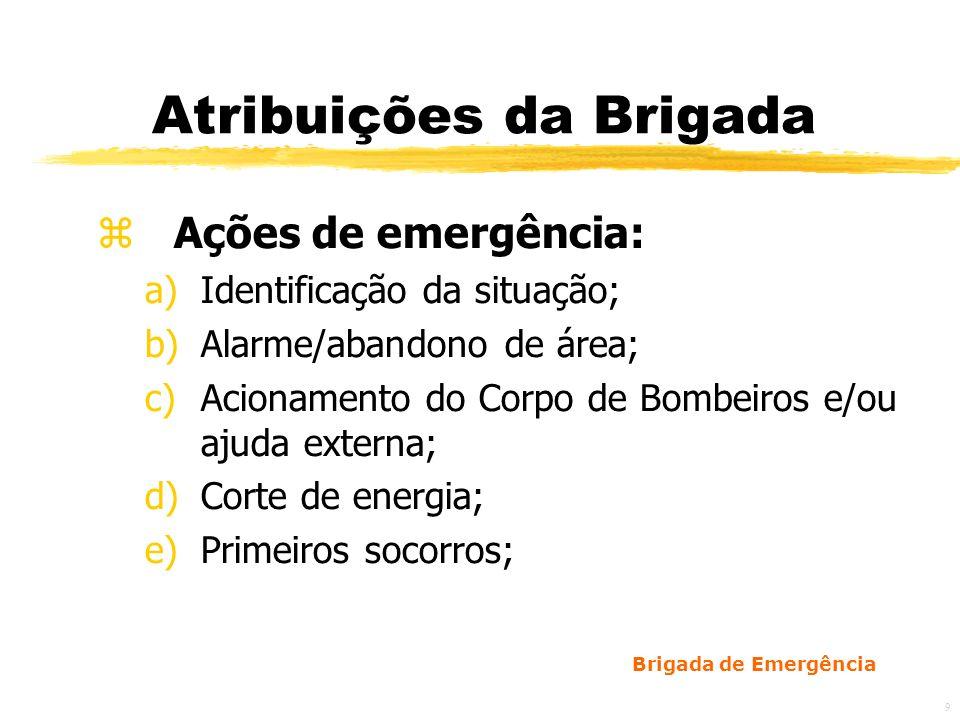 Brigada de Emergência 10 Atribuições da Brigada z Ações de emergência: f)Combate ao princípio de incêndio; g)Recepção e orientação ao Corpo de Bombeiros; h)Preenchimento do formulário de registro de trabalho dos bombeiros.