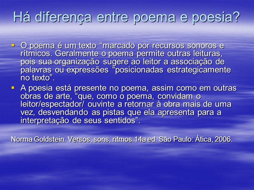 Há diferença entre poema e poesia? O poema é um texto marcado por recursos sonoros e rítmicos. Geralmente o poema permite outras leituras, pois sua or