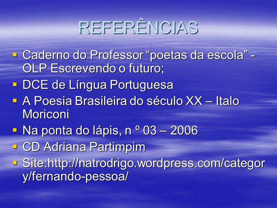 REFERÊNCIAS Caderno do Professor poetas da escola - OLP Escrevendo o futuro; Caderno do Professor poetas da escola - OLP Escrevendo o futuro; DCE de L