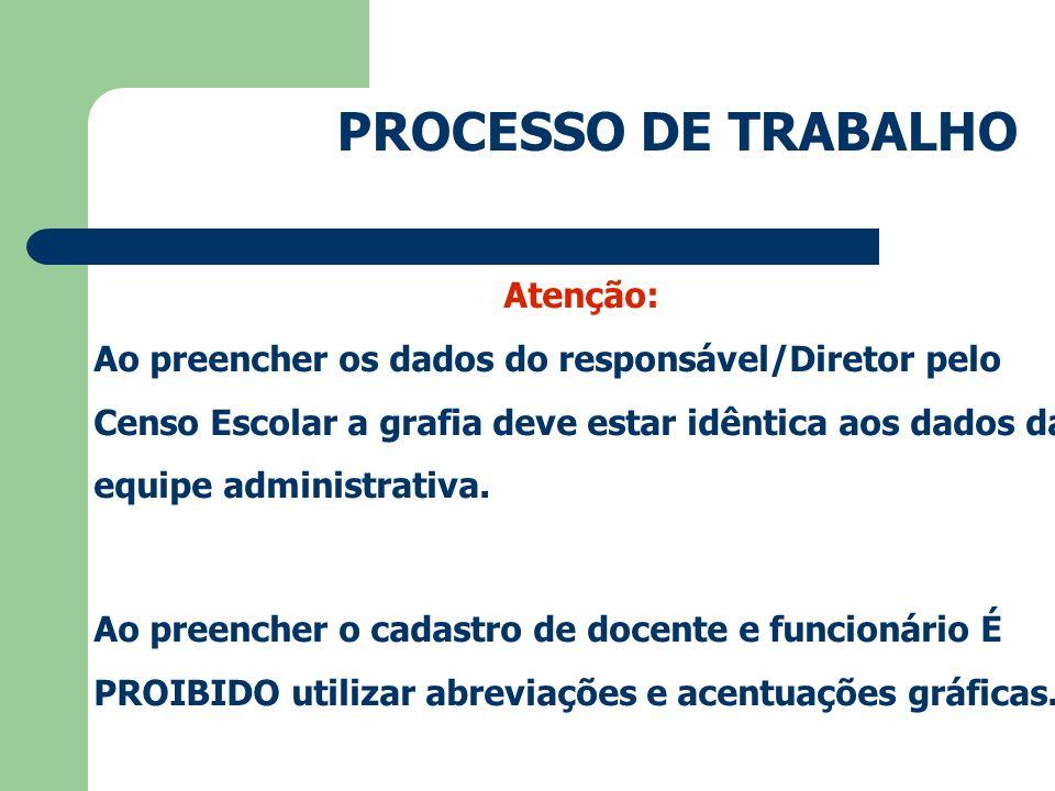 PROCESSO DE TRABALHO Atenção: Ao preencher os dados do responsável/Diretor pelo Censo Escolar a grafia deve estar idêntica aos dados da equipe administrativa.