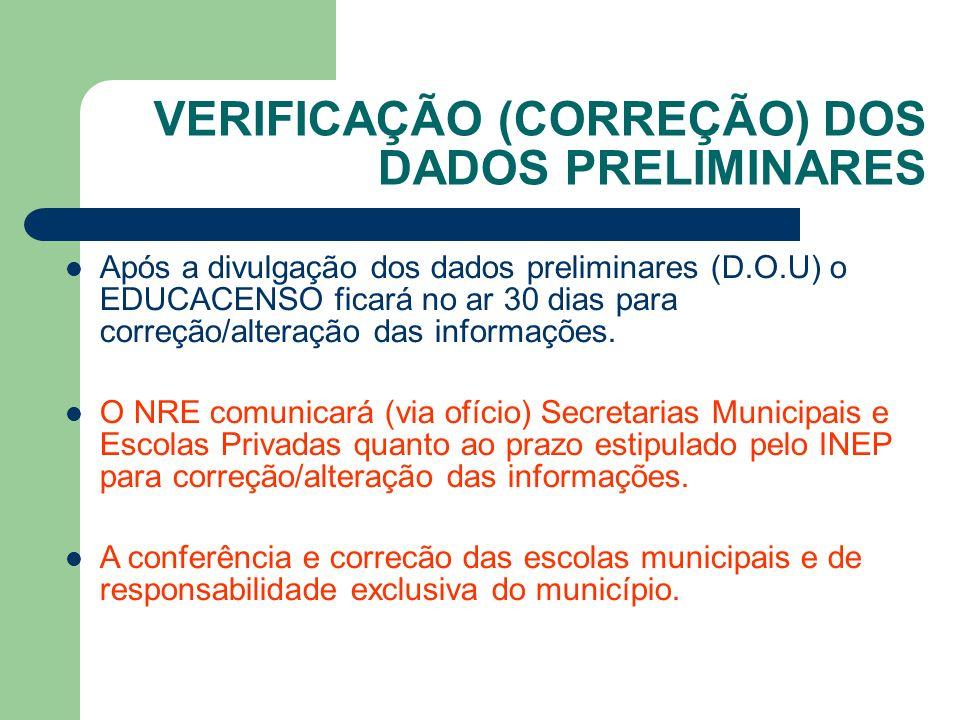 VERIFICAÇÃO (CORREÇÃO) DOS DADOS PRELIMINARES Após a divulgação dos dados preliminares (D.O.U) o EDUCACENSO ficará no ar 30 dias para correção/alteração das informações.