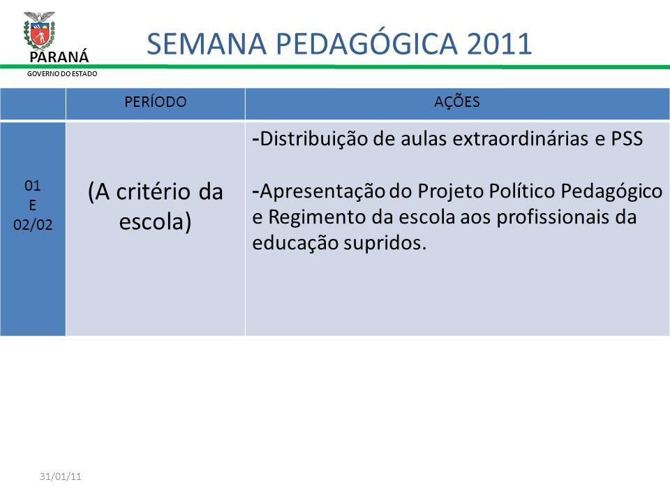 31/01/11 PERÍODOAÇÕES 01 E 02/02 (A critério da escola) -Distribuição de aulas extraordinárias e PSS -Apresentação do Projeto Político Pedagógico e Re