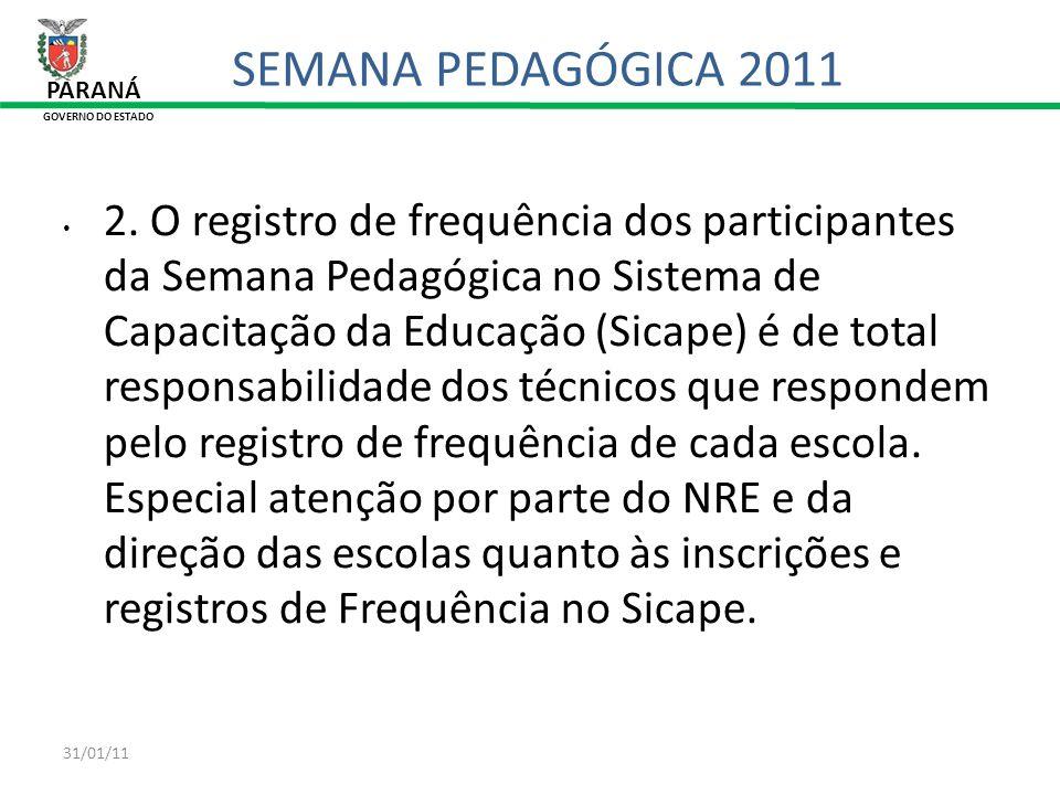 31/01/11 PARANÁ GOVERNO DO ESTADO SEMANA PEDAGÓGICA 2011 2. O registro de frequência dos participantes da Semana Pedagógica no Sistema de Capacitação