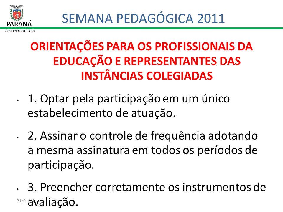 31/01/11 PARANÁ GOVERNO DO ESTADO SEMANA PEDAGÓGICA 2011 ORIENTAÇÕES PARA OS PROFISSIONAIS DA EDUCAÇÃO E REPRESENTANTES DAS INSTÂNCIAS COLEGIADAS 1. O
