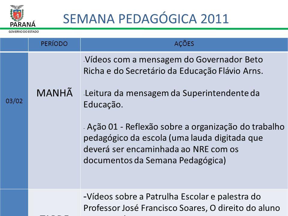 31/01/11 PARANÁ GOVERNO DO ESTADO SEMANA PEDAGÓGICA 2011 6.