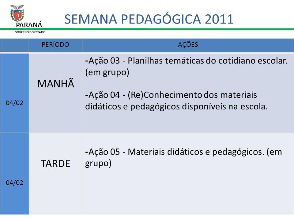 31/01/11 PERÍODOAÇÕES 04/02 MANHÃ -Ação 03 - Planilhas temáticas do cotidiano escolar. (em grupo) -Ação 04 - (Re)Conhecimento dos materiais didáticos