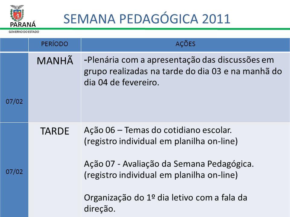 31/01/11 PARANÁ GOVERNO DO ESTADO SEMANA PEDAGÓGICA 2011 O coordenador pedagógico poderá ser inscrito também como participante, desde que participe do evento.