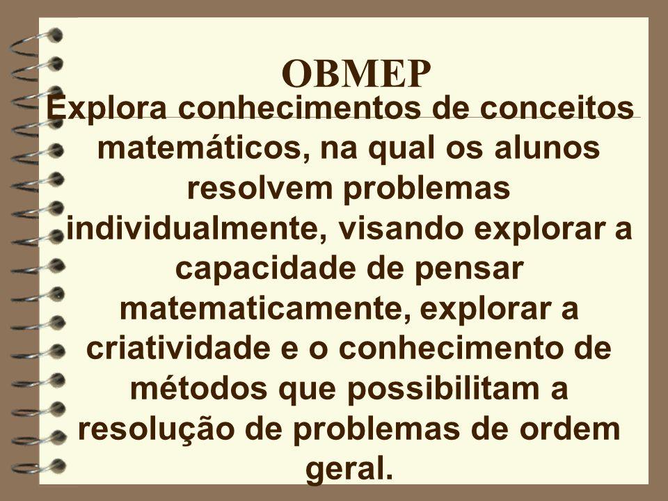 OBMEP - Objetivos - estimular e promover o estudo da Matemática; - contribuir para a melhoria da qualidade da Educação Básica; - implementar as metodologias previstas nas Diretrizes Curriculares de Matemática; - contribuir para a integração das escolas públicas estaduais com as universidades públicas, os institutos de pesquisa e as sociedades científicas;