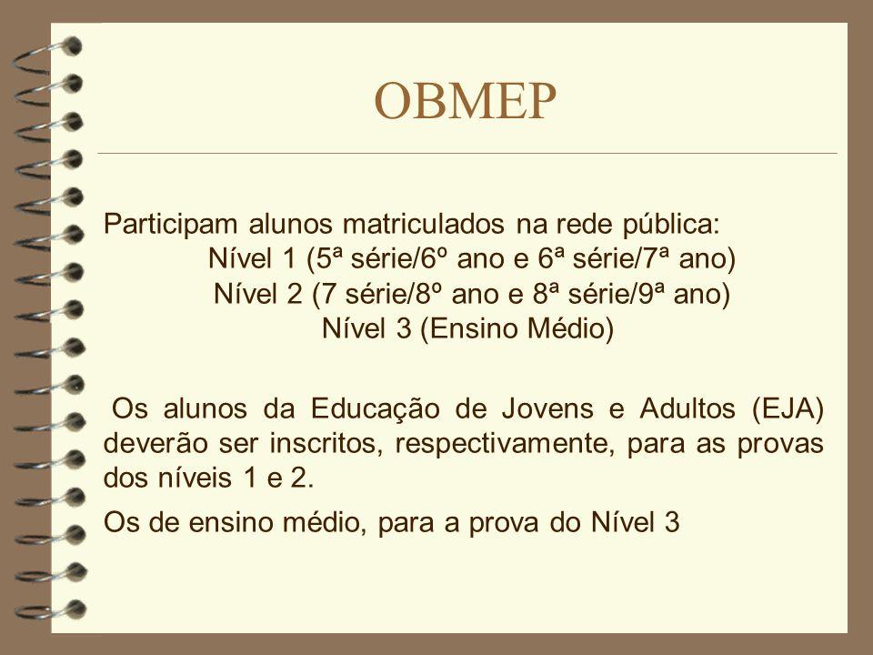 OBMEP Participam alunos matriculados na rede pública: Nível 1 (5ª série/6º ano e 6ª série/7ª ano) Nível 2 (7 série/8º ano e 8ª série/9ª ano) Nível 3 (