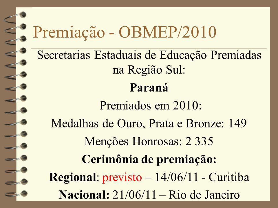 Premiação - OBMEP/2010 Secretarias Estaduais de Educação Premiadas na Região Sul: Paraná Premiados em 2010: Medalhas de Ouro, Prata e Bronze: 149 Menç