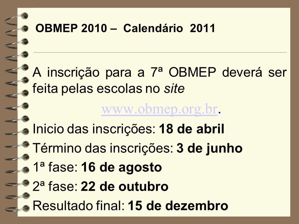 OBMEP 2010 – Calendário 2011 A inscrição para a 7ª OBMEP deverá ser feita pelas escolas no site www.obmep.org.br. www.obmep.org.br Inicio das inscriçõ