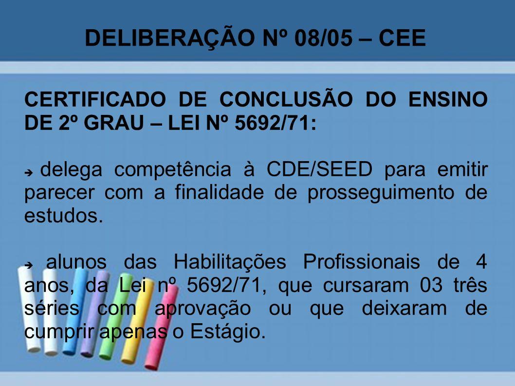 DELIBERAÇÃO Nº 08/05 – CEE CERTIFICADO DE CONCLUSÃO DO ENSINO DE 2º GRAU – LEI Nº 5692/71: delega competência à CDE/SEED para emitir parecer com a fin