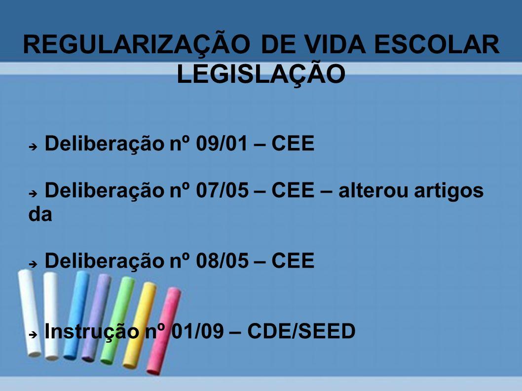 REGULARIZAÇÃO DE VIDA ESCOLAR LEGISLAÇÃO Deliberação nº 09/01 – CEE Deliberação nº 07/05 – CEE – alterou artigos da Deliberação nº 08/05 – CEE Instruç