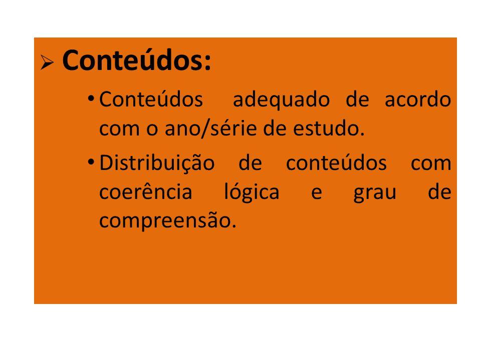Conteúdos: Conteúdos adequado de acordo com o ano/série de estudo. Distribuição de conteúdos com coerência lógica e grau de compreensão.