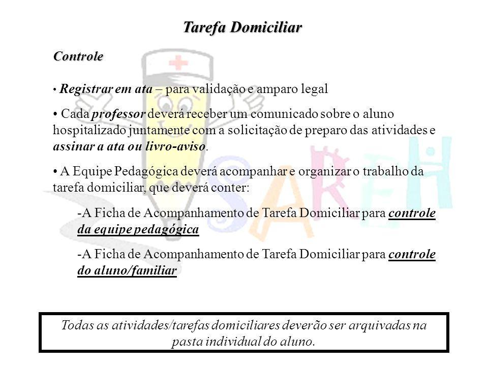 Controle Registrar em ata – para validação e amparo legal Cada professor deverá receber um comunicado sobre o aluno hospitalizado juntamente com a sol