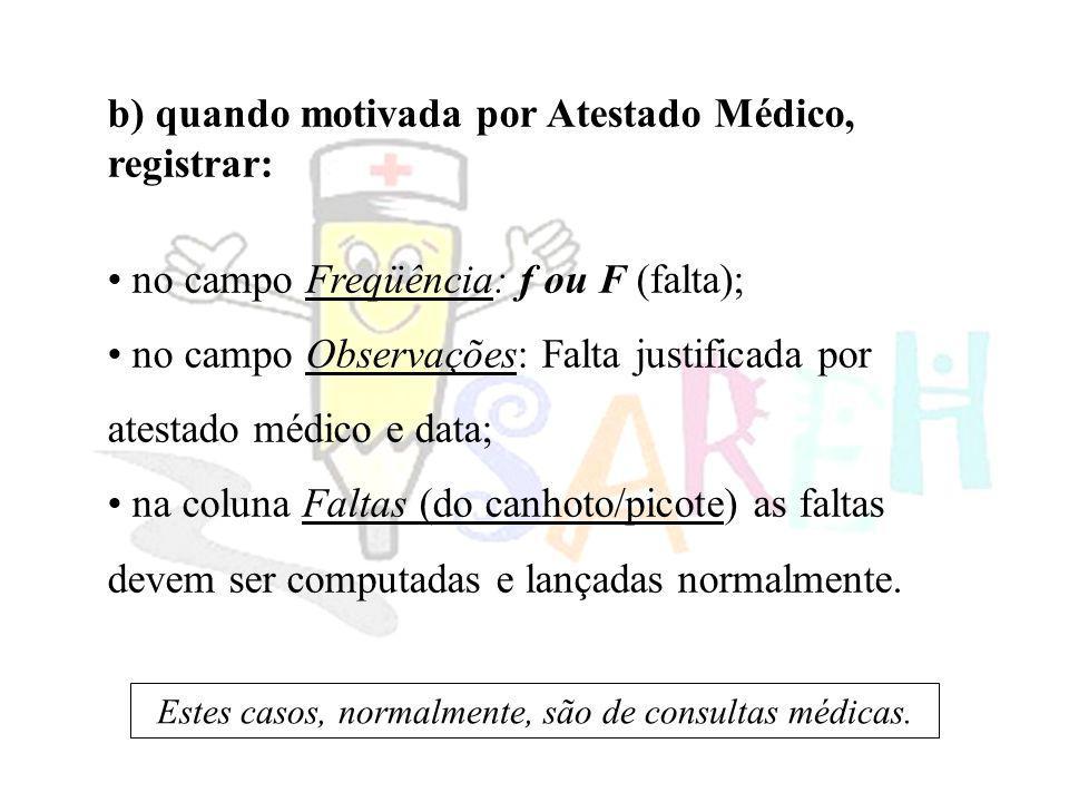 b) quando motivada por Atestado Médico, registrar: no campo Freqüência: f ou F (falta); no campo Observações: Falta justificada por atestado médico e