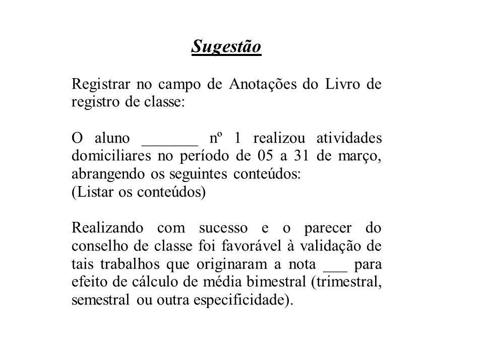 Sugestão Registrar no campo de Anotações do Livro de registro de classe: O aluno _______ nº 1 realizou atividades domiciliares no período de 05 a 31 d
