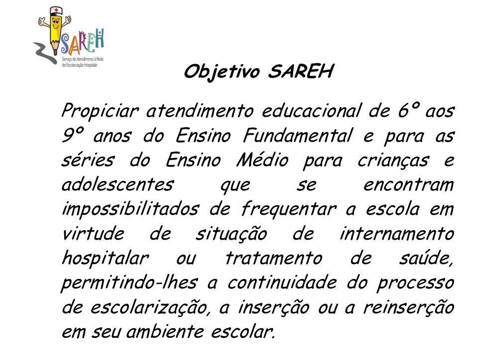 Objetivo SAREH Propiciar atendimento educacional de 6º aos 9º anos do Ensino Fundamental e para as séries do Ensino Médio para crianças e adolescentes