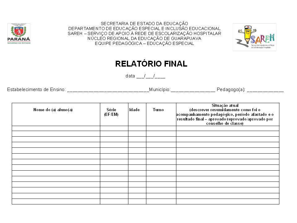 RELAT Ó RIO FINAL data ___/___/____ Estabelecimento de Ensino: _______________________________Munic í pio:_________________ Pedagogo(a): _____________