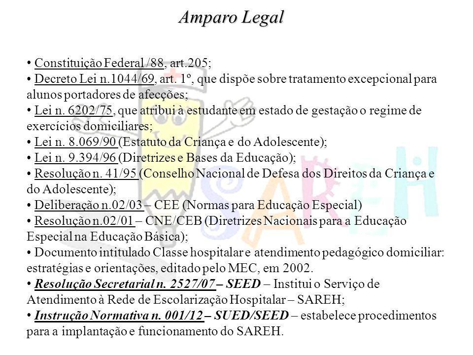 Amparo Legal Constituição Federal /88, art.205; Decreto Lei n.1044/69, art. 1º, que dispõe sobre tratamento excepcional para alunos portadores de afec
