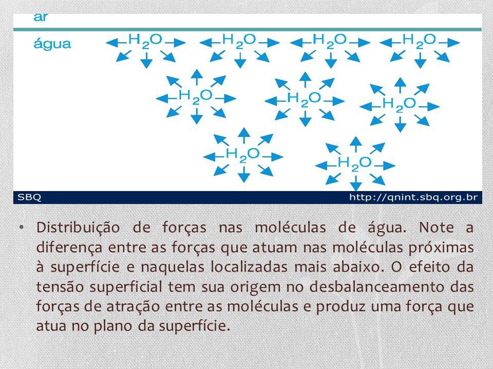 Distribuição de forças nas moléculas de água. Note a diferença entre as forças que atuam nas moléculas próximas à superfície e naquelas localizadas ma