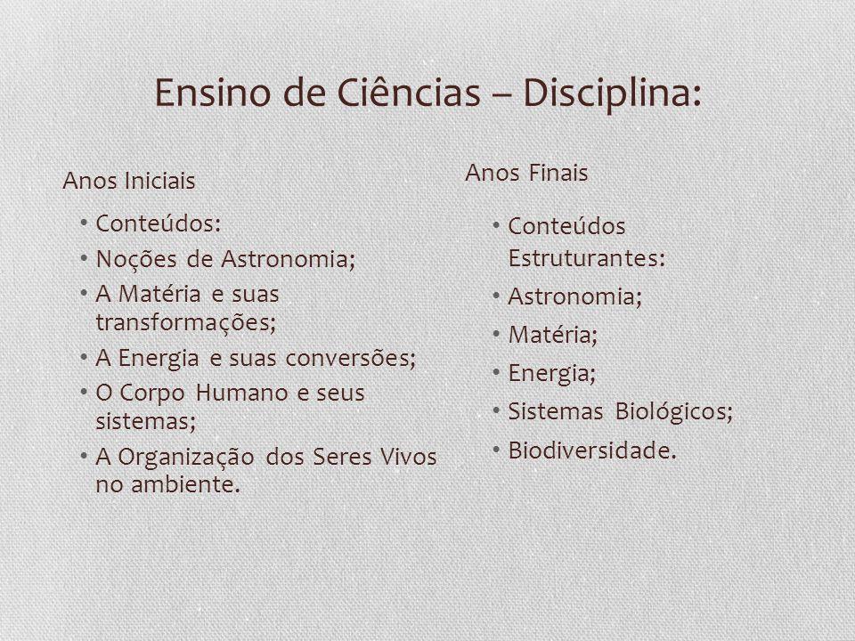 Ensino de Ciências – Disciplina: Conteúdos: Noções de Astronomia; A Matéria e suas transformações; A Energia e suas conversões; O Corpo Humano e seus