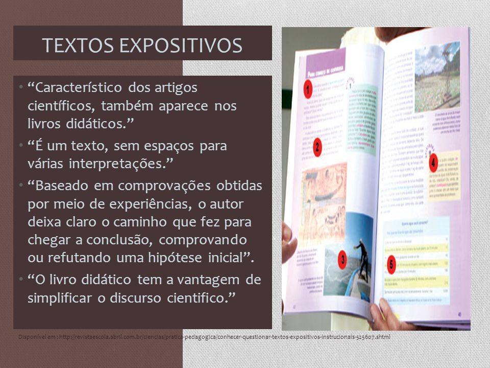 TEXTOS EXPOSITIVOS Característico dos artigos científicos, também aparece nos livros didáticos. É um texto, sem espaços para várias interpretações. Ba