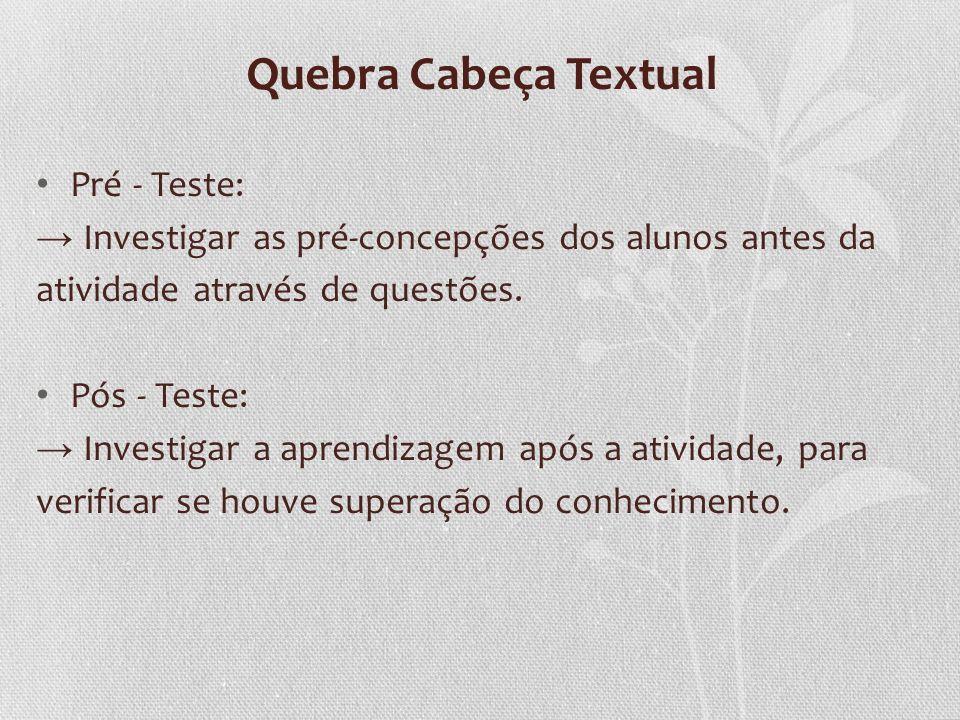 Quebra Cabeça Textual Pré - Teste: Investigar as pré-concepções dos alunos antes da atividade através de questões. Pós - Teste: Investigar a aprendiza