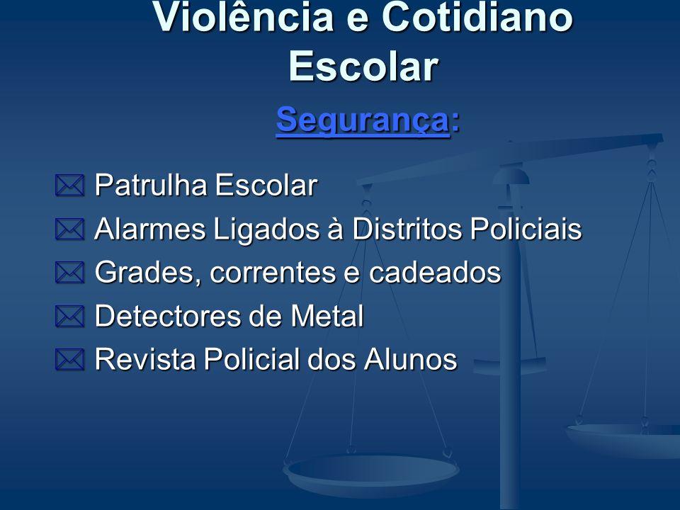 Violência e Cotidiano Escolar Propostas: 0 QUESTÃO DE SEGURANÇA 0 QUESTÃO POLÍTICO- PEDAGÓGICA