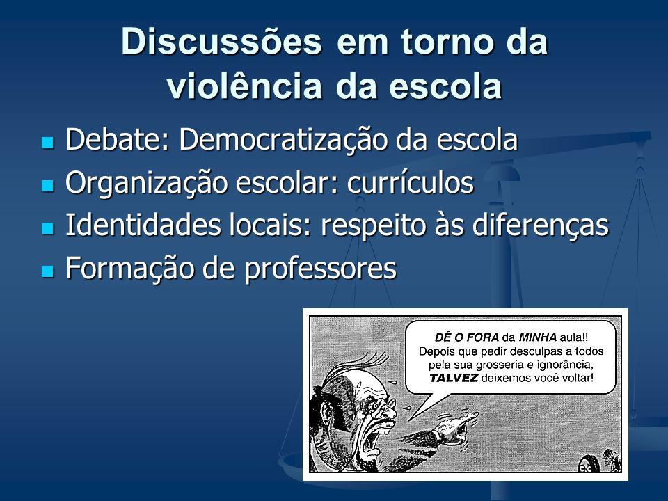 Violência da escola Expressão: Organização autoritária Organização autoritária Currículos fechados Currículos fechados Ambiente confuso e não acolhedo