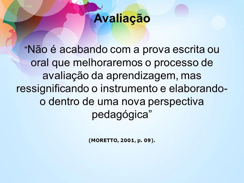 Avaliação Não é acabando com a prova escrita ou oral que melhoraremos o processo de avaliação da aprendizagem, mas ressignificando o instrumento e ela