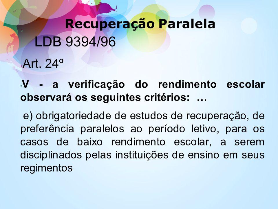 LDB 9394/96 Art. 24º V - a verificação do rendimento escolar observará os seguintes critérios: … e) obrigatoriedade de estudos de recuperação, de pref