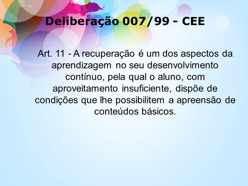 Art. 11 - A recuperação é um dos aspectos da aprendizagem no seu desenvolvimento contínuo, pela qual o aluno, com aproveitamento insuficiente, dispõe