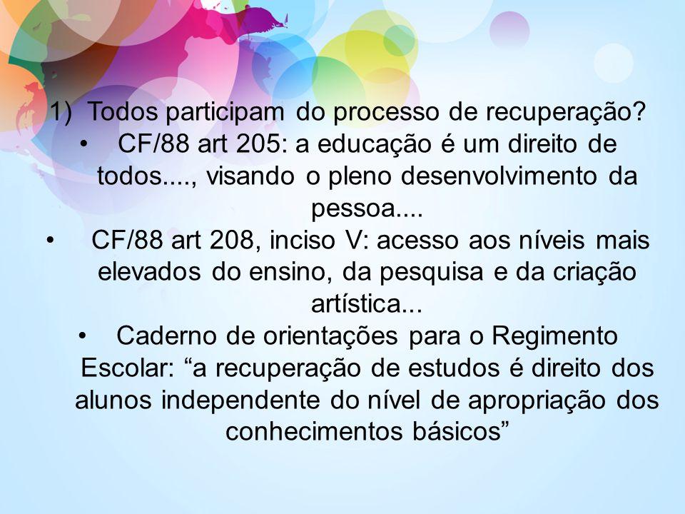 1)Todos participam do processo de recuperação? CF/88 art 205: a educação é um direito de todos...., visando o pleno desenvolvimento da pessoa.... CF/8