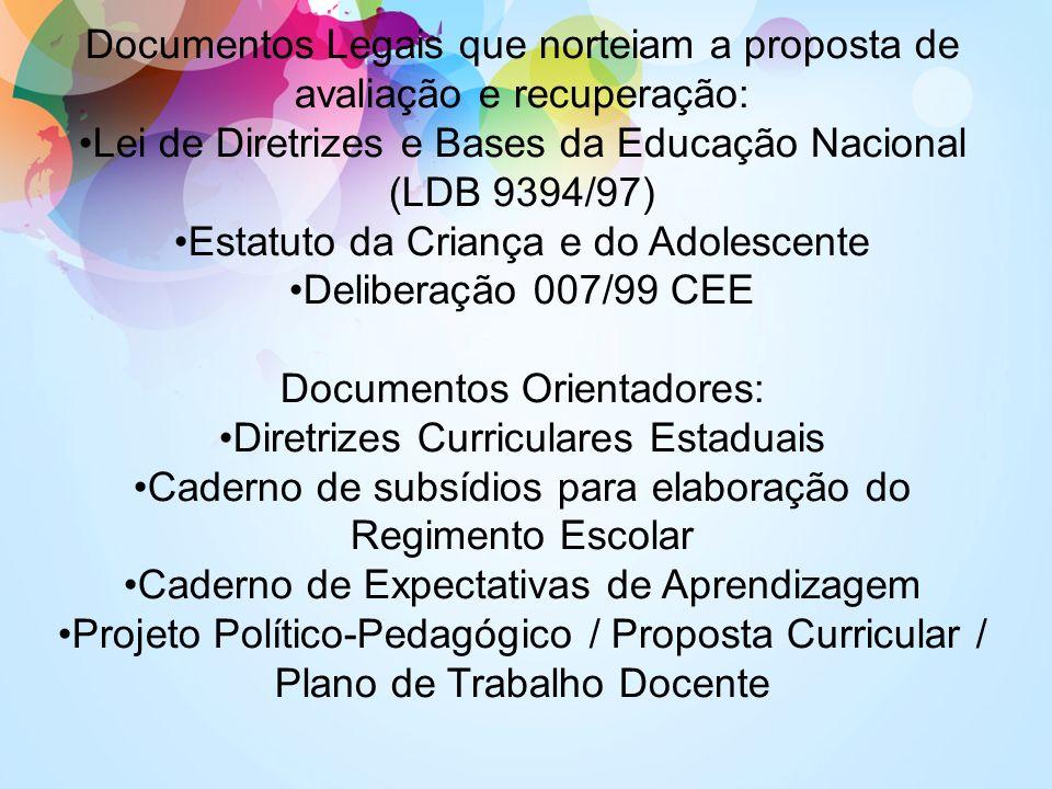 Documentos Legais que norteiam a proposta de avaliação e recuperação: Lei de Diretrizes e Bases da Educação Nacional (LDB 9394/97) Estatuto da Criança