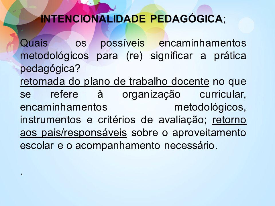 INTENCIONALIDADE PEDAGÓGICA; Quais os possíveis encaminhamentos metodológicos para (re) significar a prática pedagógica? retomada do plano de trabalho