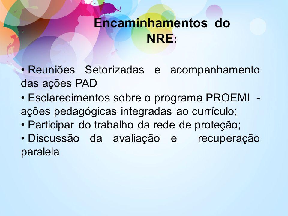 Encaminhamentos do NRE : Reuniões Setorizadas e acompanhamento das ações PAD Esclarecimentos sobre o programa PROEMI - ações pedagógicas integradas ao