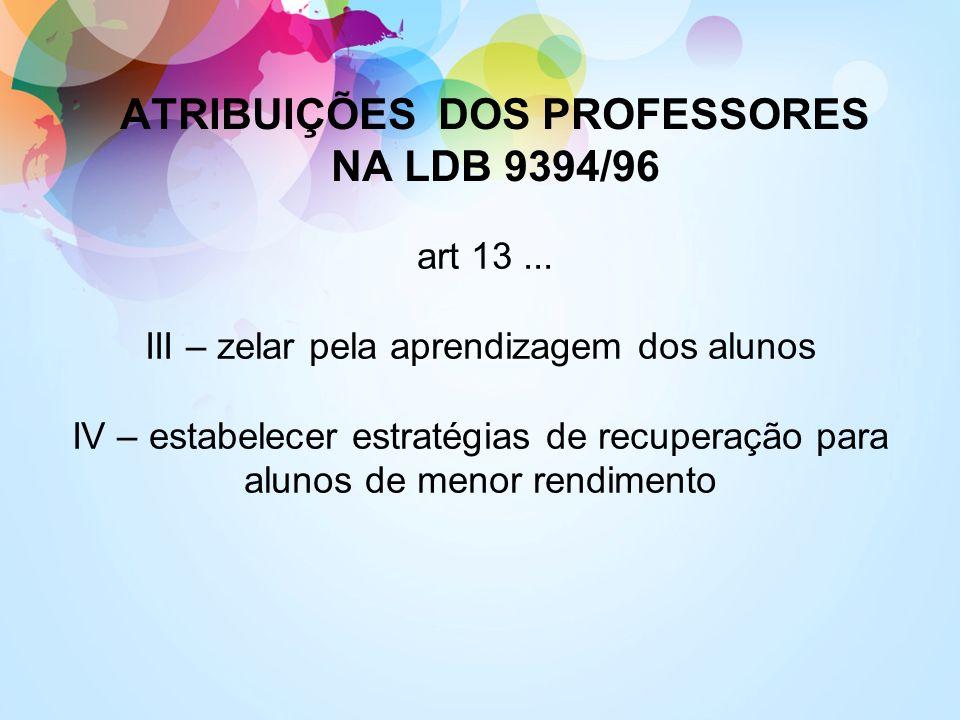 art 13... III – zelar pela aprendizagem dos alunos IV – estabelecer estratégias de recuperação para alunos de menor rendimento ATRIBUIÇÕES DOS PROFESS