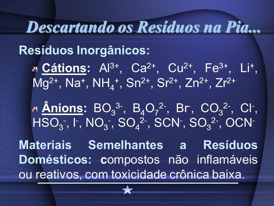 Descartando os Resíduos na Pia... Resíduos Inorgânicos: Cátions: Al 3+, Ca 2+, Cu 2+, Fe 3+, Li +, Mg 2+, Na +, NH 4 +, Sn 2+, Sr 2+, Zn 2+, Zr 2+ Âni