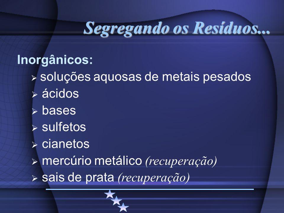 Segregando os Resíduos... Inorgânicos: soluções aquosas de metais pesados ácidos bases sulfetos cianetos mercúrio metálico (recuperação) sais de prata