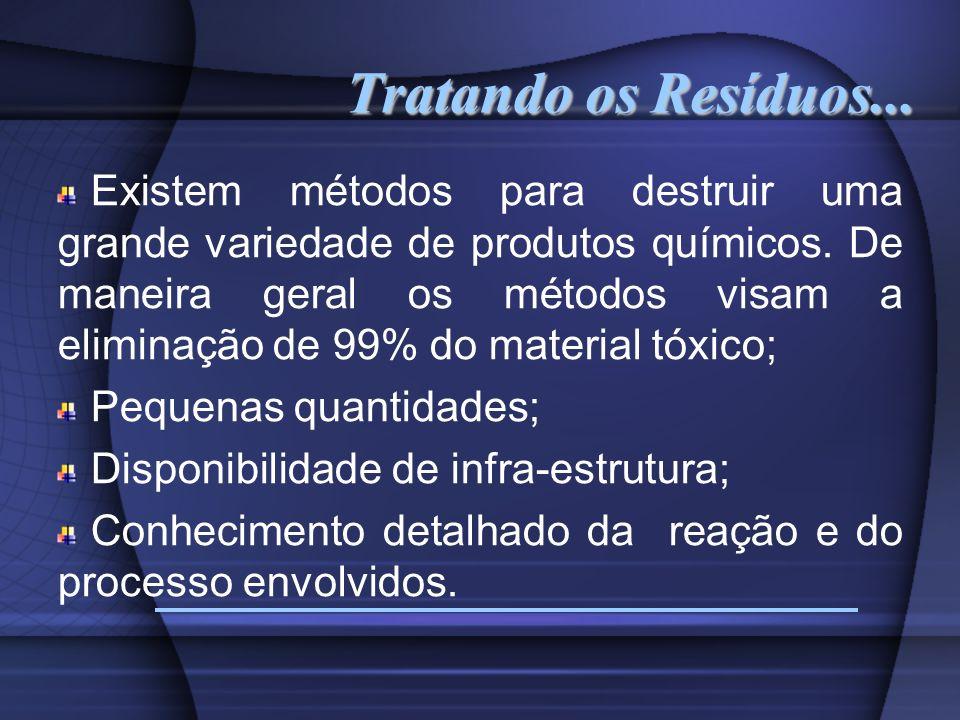 Tratando os Resíduos... Existem métodos para destruir uma grande variedade de produtos químicos. De maneira geral os métodos visam a eliminação de 99%