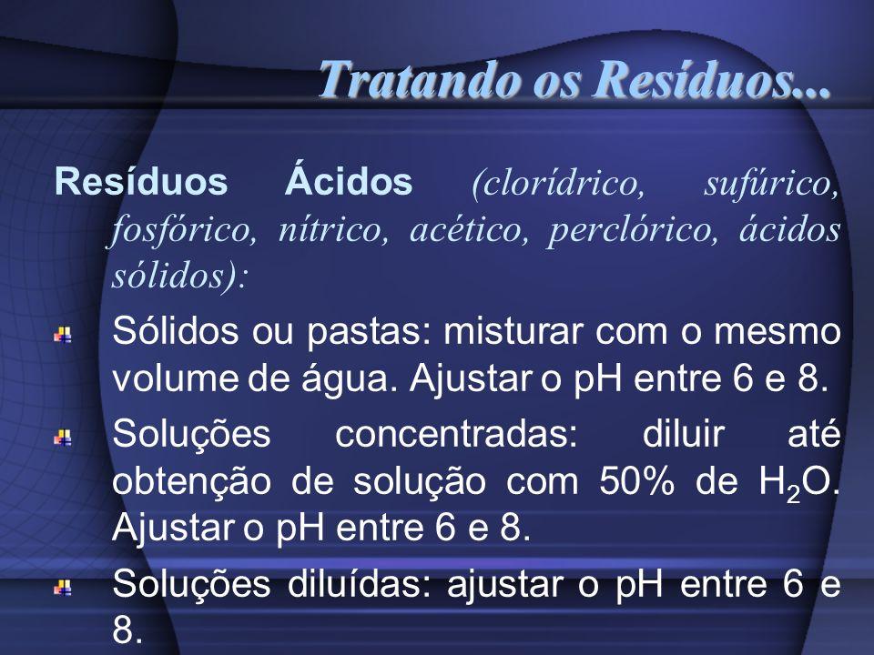 Tratando os Resíduos... Resíduos Ácidos (clorídrico, sufúrico, fosfórico, nítrico, acético, perclórico, ácidos sólidos): Sólidos ou pastas: misturar c