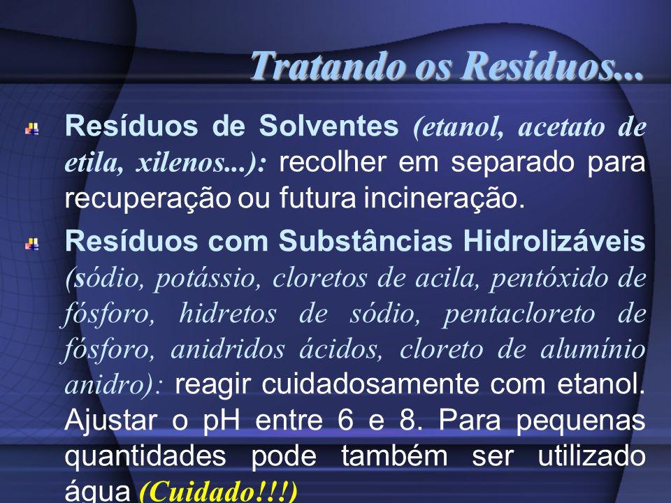 Tratando os Resíduos... Resíduos de Solventes (etanol, acetato de etila, xilenos...): recolher em separado para recuperação ou futura incineração. Res
