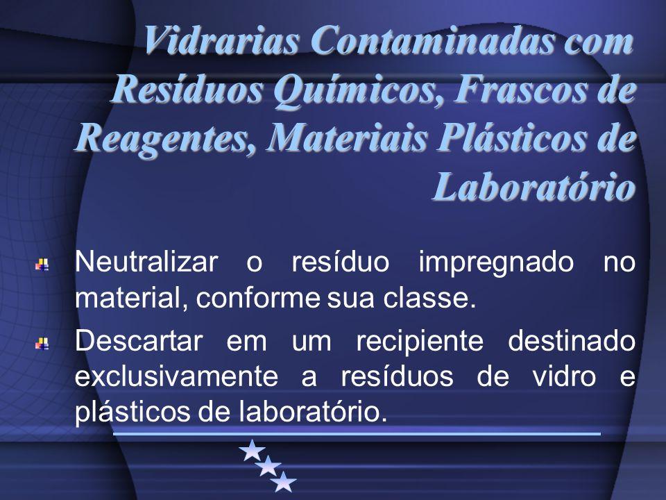 Vidrarias Contaminadas com Resíduos Químicos, Frascos de Reagentes, Materiais Plásticos de Laboratório Neutralizar o resíduo impregnado no material, c