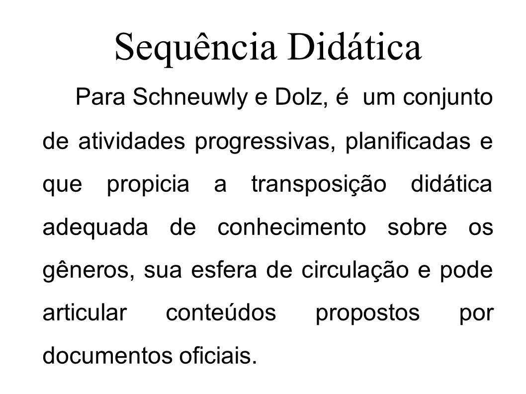 Sequência Didática Para Schneuwly e Dolz, é um conjunto de atividades progressivas, planificadas e que propicia a transposição didática adequada de co