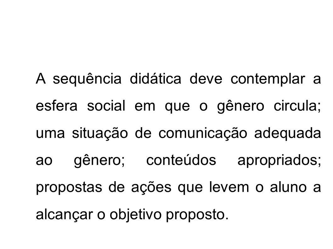 A sequência didática deve contemplar a esfera social em que o gênero circula; uma situação de comunicação adequada ao gênero; conteúdos apropriados; p