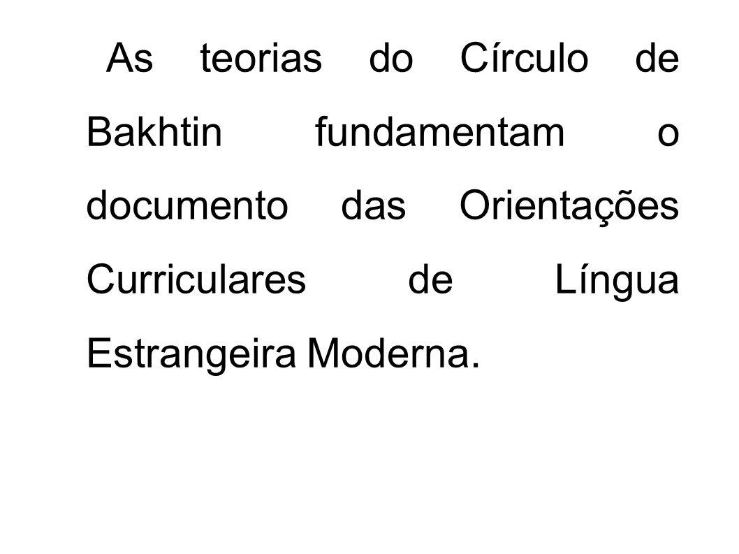As teorias do Círculo de Bakhtin fundamentam o documento das Orientações Curriculares de Língua Estrangeira Moderna.