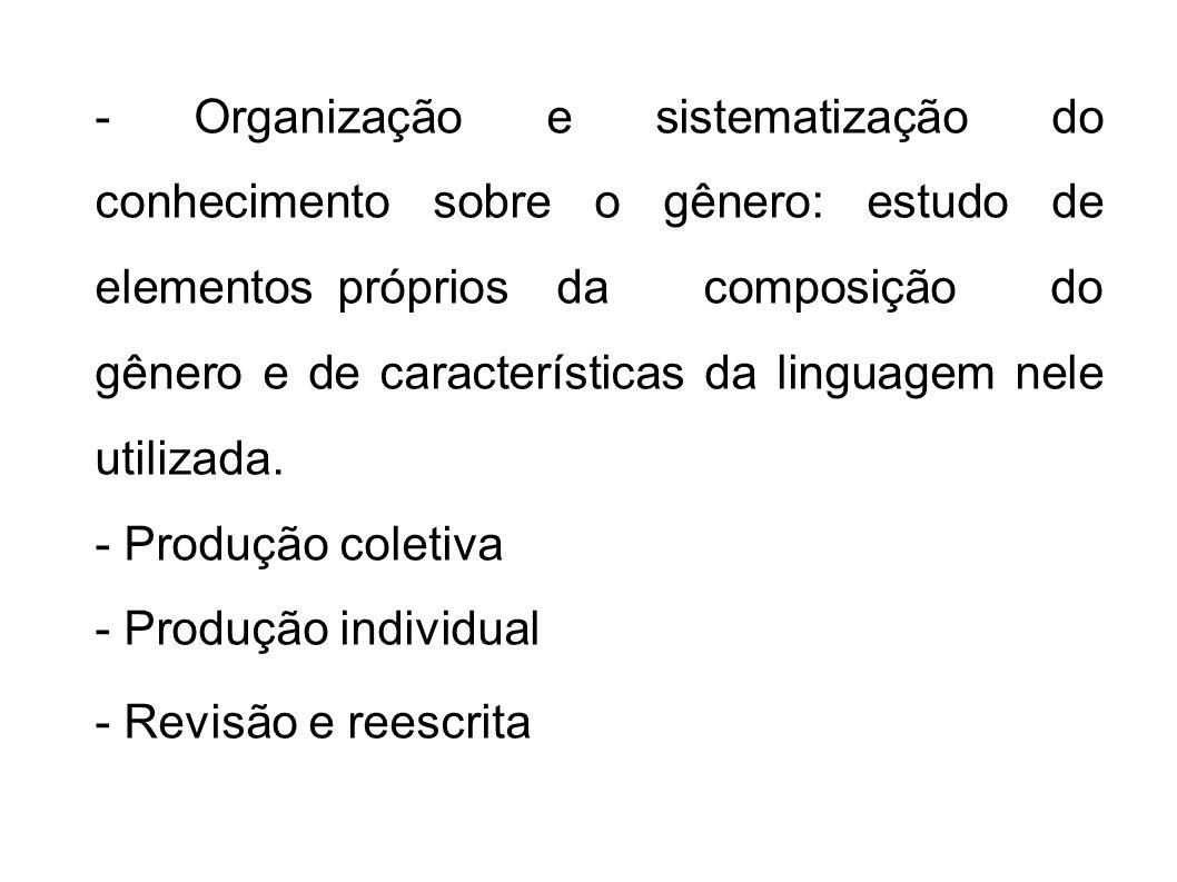 - Organização e sistematização do conhecimento sobre o gênero: estudo de elementos próprios da composição do gênero e de características da linguagem