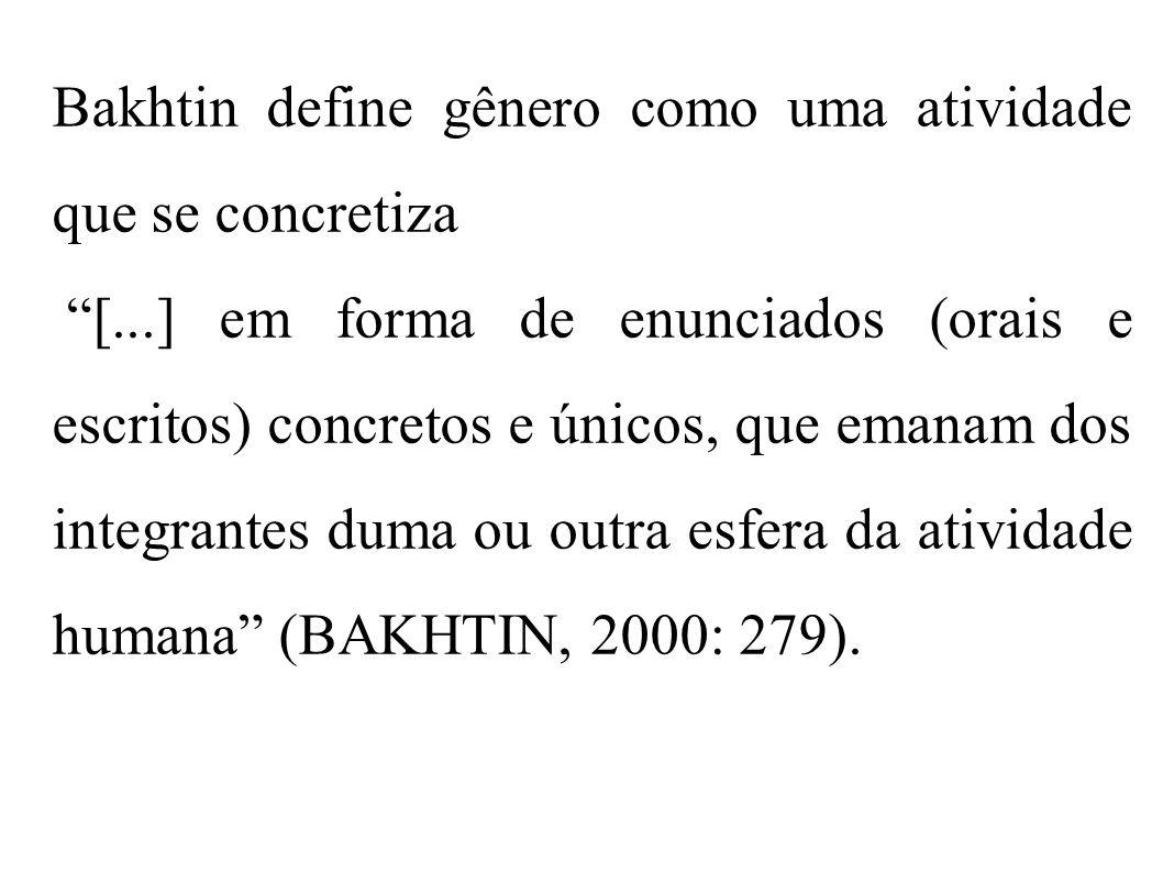 Bakhtin define gênero como uma atividade que se concretiza [...] em forma de enunciados (orais e escritos) concretos e únicos, que emanam dos integran